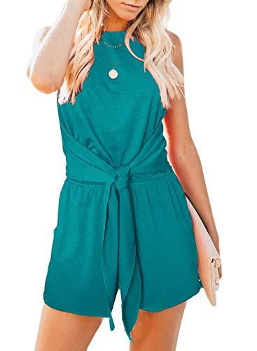 ZESICA Women's Summer Sleeveless Halter Neck Solid Color Knot Front Short Jumpsuit Romper with Pockets Teal