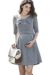 Sweet Mommy Maternity and Nursing Bow Top Belted Dress MGRM