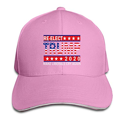 Re-Elect 2020 Trump Make Liberals Cry Again Unisex Adjustable Peaked Hat Cotton Sandwich Caps Pink ()