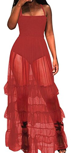 Dress Baggy Ruffled Sheer Red Swing Cromoncent Strapless Fit Pleated Straps Women wXxXAq8nEz