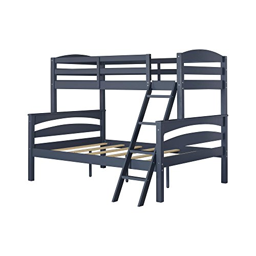 Kids Full Wood - Dorel Living Brady Twin over Full Solid Wood Kid's Bunk Bed with Ladder, Graphite Blue