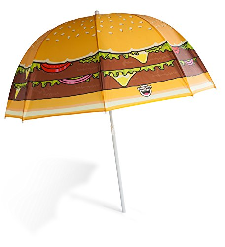(BigMouth Inc. Cheeseburger Colorful Beach Umbrella, Perfect for Summer Vacation or Rainy Days)