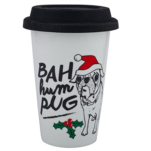 Happy Pug In Costume (Lux Accessories Bah Hum Pug Dog Animal Happy Holidays Christmas Sippy Hot Coffee Drink Cold 8OZ Cup Xmas)