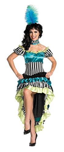 Disguise Women's Can-Can Cutie Costume, Black/White/Blue/Green, Medium ()