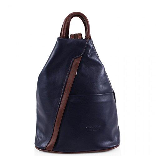 Navy Women Soft Leather Girls School Rucksacks Gym Brown VPR244 Vera Backpacks Ladies Bags Italian Pelle 8ORFwq