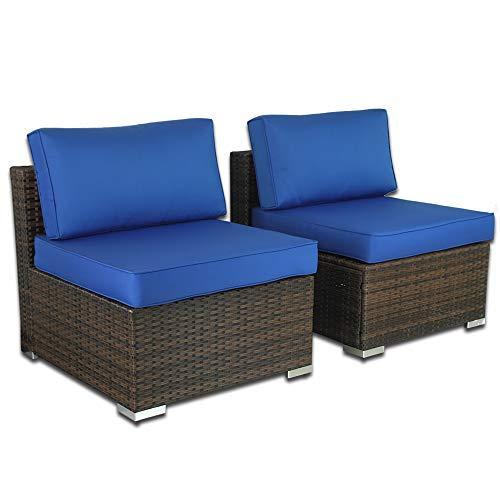 Patio Furniture PE Brown Rattan Sofa Set 2pcs Middle Sofa Garden Wicker Sectional Sofas Conversation Sets-Easy Assembled Royal Blue Cushion
