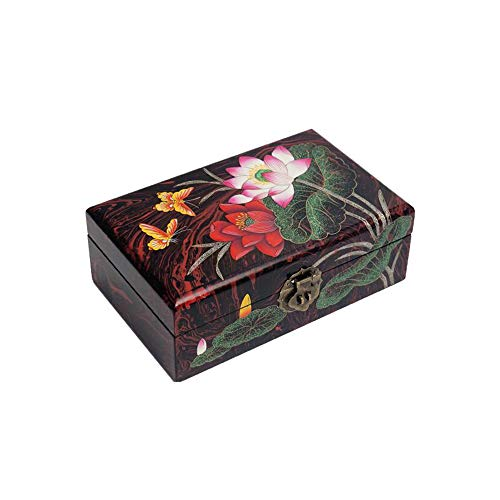 HAIHF Wooden Trinket Box,Handmade Mother of Pearl Inlaid Jewellery Box With Lacquer Finish,Chinese Push Light Lacquerware Crafts Jewelry Storage Box