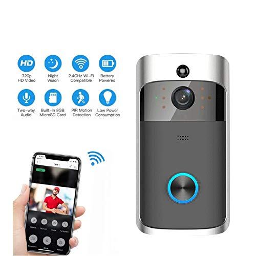 ZYLFN Wireless Smart Doorbell, WiFi Video Doorbell Camera with Ring Chime,720P HD Security Camera with Two-Way Talk Video,Night Vision for Home Security