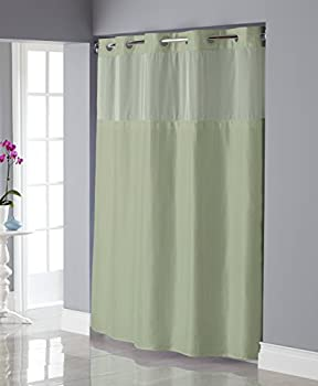 Hookless RBH34MY838 Shiny Texture Herringbone Shower Curtain with Snap-In PEVA Liner -  Sage Green
