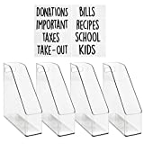 mDesign File Folder Holder Storage Organizer Set with 8 Identification Labels - Vertical with Handle - Holds Notebooks, Binders, Envelopes, Magazines - Home Office and Work Desktops, Pack of 4, Clear