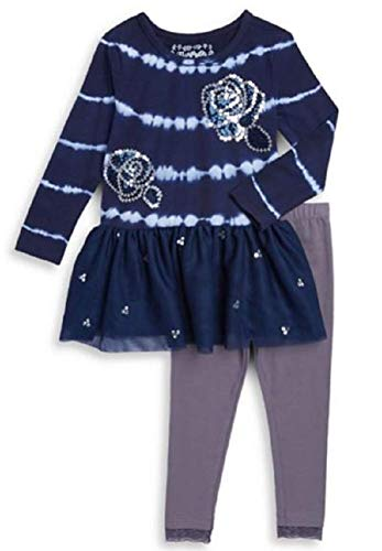 Outfit Flapdoodles Girl (Flapdoodles Girls Navy Tie-Dye Sequin Rose Size 2T-6X Tunic Pants (3T))