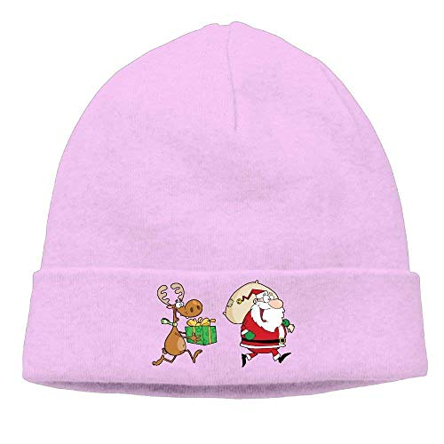 YVSXO Funny Beanies Momen's Reindeer Running with Santa Delivering Gifts Warm Hip-Hop Black Beanies Watch Cap -