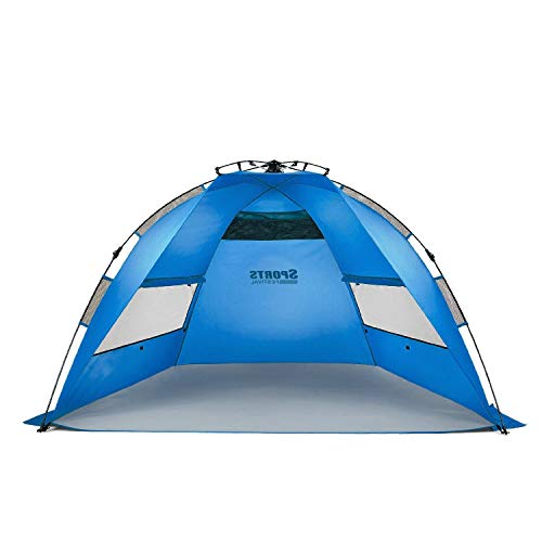 Easy Up Beach Tent and Deluxe XL Sun Shelter Canopy Shade For Kids and Baby Sports Instant Setup 2 or 3 Person Half Dome Cabana Pop Up UV Sun Protection Shade With Sand Pockets To Add Weight and Ropes