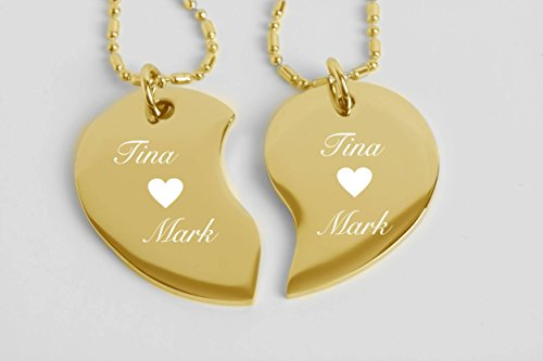 Engraved Couple's Split Heart Tear Drop Shaped Gold Necklace Set Personalized FREE
