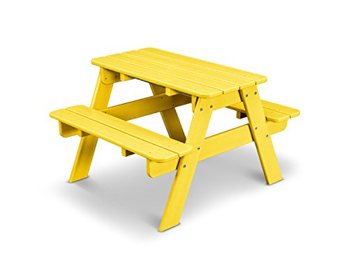 POLYWOOD Outdoor Furniture Kid Picnic Table, Lemon-Recycled Plastic Materials (Table Polywood Picnic Benches With)