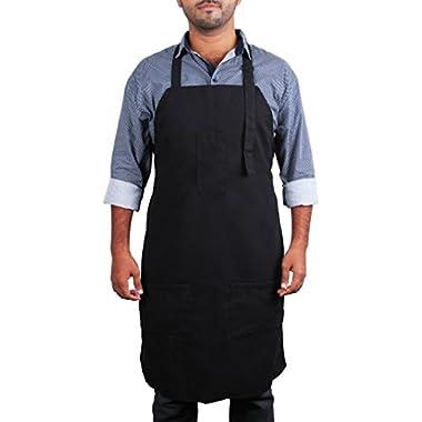 Black Bib Apron with Pockets - Kitchen Apron - Adjustable Neck Strap - Long Ties - by Utopia Kitchen