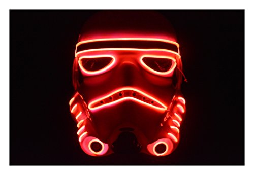 Plurfect Lights EL Wire Mask Storm Trooper Halloween Mask GLOVING Mask (Red) (Skrillex Halloween)