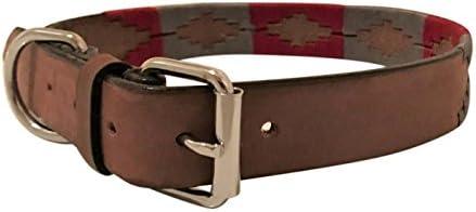 Collar de perro de cuero hecho a mano bordado Polo Argentina ...