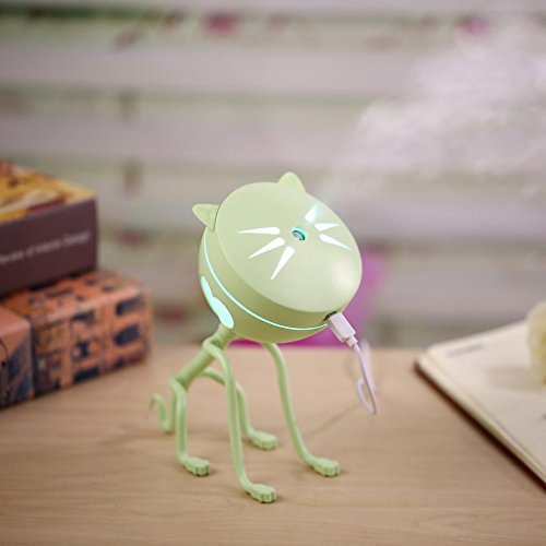 Price comparison product image Mini Humidifier,  Kanhan Cute Cat LED Humidifier-Air Diffuser Purifier Atomizer-150ML- Mini Stylish Oil Diffuser (Green)