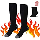 Missblue Heated Electric Warm Thermal Boot Socks,Rechargeable Battery Powered Winter Foot Warmers,Winter Heating Sox Chronically Feet(Battery not Included) (Black)