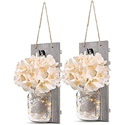 Mason Jar Sconce Rustic Wall Sconces, Rustic Home Decor,Wrought Iron Hooks, Silk Hydrangea and LED Strip Lights Design for Home Decoration (Set of 2)