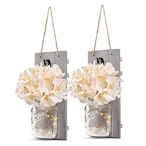 GBtroo Rustic Wall Sconces – Mason Jars Sconce, Rustic Home Decor,Wrought Iron Hooks, Silk Hydrangea and LED Strip Lights Design 6 Hour Timer Home Decoration (Set of 2)