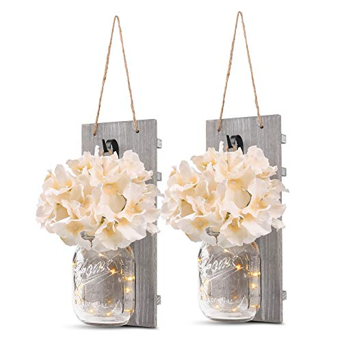 GBtroo Rustic Wall Sconces - Mason Jars Sconce, Rustic Home Decor,Wrought Iron Hooks, Silk Hydrangea and LED Strip Lights Design for Home Decoration (Set of -