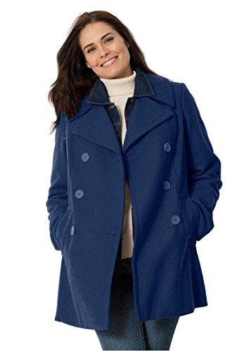 Women's Plus Size Wool-Blend Double-Breasted Peacoat Navy,14 W