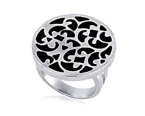 Women's Stainless Steel Black Enamel Filigree Band Ring, Size 7