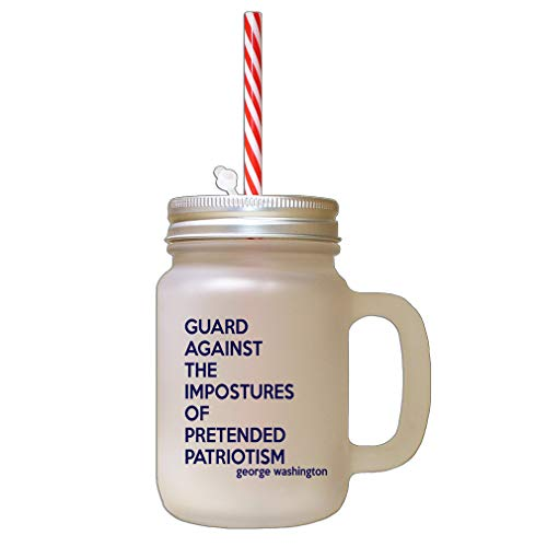 Style In Print Navy Guard Against The Impostures of Pretended Patriotism Frosted Glass Mason Jar with Straw