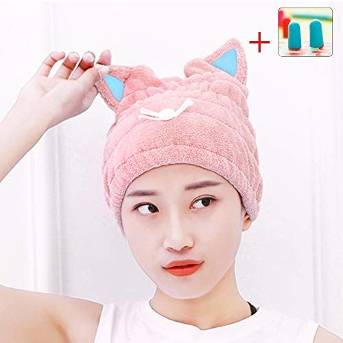 Microfiber Hair Drying Towels, Cute Bath Towel Wrap, Ultra Soft Absorbent Hair Dry Hat Cap, Quick Drying Bath Cap for Women Adults or Kids Girls(Pink)