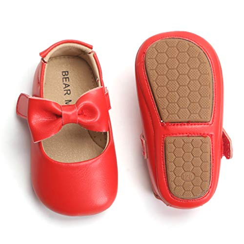 (Bear Mall Infant Baby Girls Shoes Soft Rubber Sole Princess Dress Shoes Baby Walking)