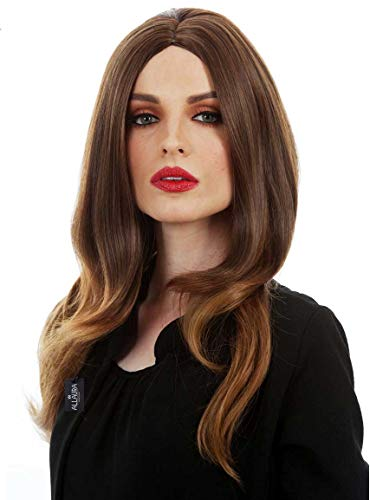 ALLAURA Melania Trump Wig. Long Brown Wavy Heat Resistant Costume Wig for Cosplay Women]()