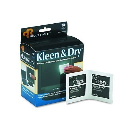 - Read Right RR1305 Two Step Screen Kleen Wet and Dry Cleaning Wipes 5 x 5 40/Box