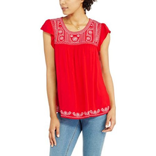 Faded Glory Women's Embroidered Top Brilliant Red Medium from Faded Glory