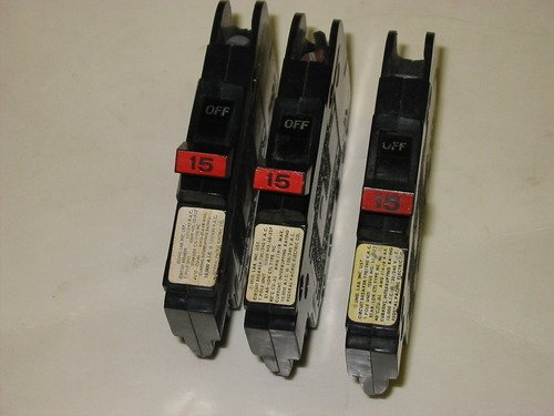 3- BREAKER LOT - NC015 1 POLE, 15 AMP FEDERAL PACIFIC FPE THIN STYLE 15A 1P STAB-LOK (Federal Pacific Electric Circuit Breaker)