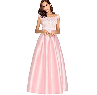 FXFAN Ms Vintage One Word Collar Vestido De Año Nuevo Vestido De Noche De Satén Vestido De Dama De Honor Vestido De Encaje De Color Sólido