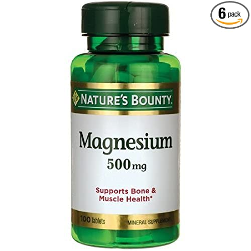 Nature's Bounty Magnesium 500 mg Tablets 100 ea (Pack of 6)