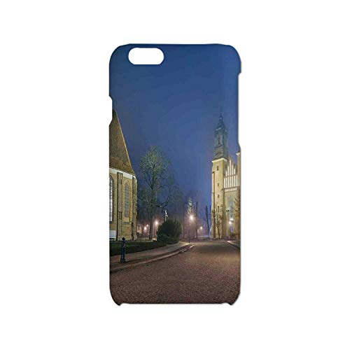 Cathedral Island - Gothic Simple Phone Case,Gothic Medieval Middle Age Churches Cathedral Island with Night Lights Photo Print Compatible with iPhone 6/6s,iPhone 6,6s