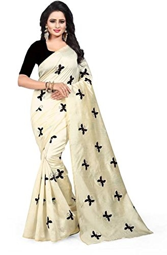 Dhwani Enterprise Women s Black Embrodary Titli Work Traditional Chanderi  Silk Saree With Blouse Piece 3964f51bd7