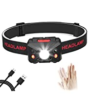 Eletorot Stirnlampe LED, USB Wiederaufladbare Kopflampe Wasserdicht Leichtgewichts stirnlampen Perfekt fürs Joggen, Laufen Campen Angelnund