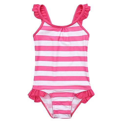 Tankini Pink Dot (OwlFay Girls One Piece Swimsuits Cute Baby Kids Ruffle Stripes Swimwear Polka Dots Beach Tankini Bathing Suits Teen Big Girls Summer Spaghetti Straps Swim Surfing Beachwear Hot Pink 7-8 Years)