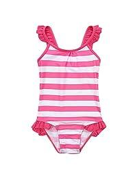 FYMNSI Kid Girls Sleeveless Swimsuit Dots Stripes One Piece Summer Ruffle Swimwear