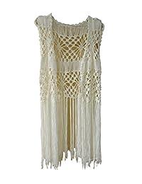Crochet Bikini Cover up Long Fringe Vest Hippie Womens Summer Tops Beach Cover Up