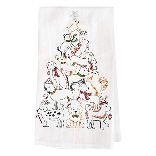 GALLERIE II Dog Christmas Tree Print Kitchen Towels - Set of 2 White Cotton Flour Sack Hand Towels