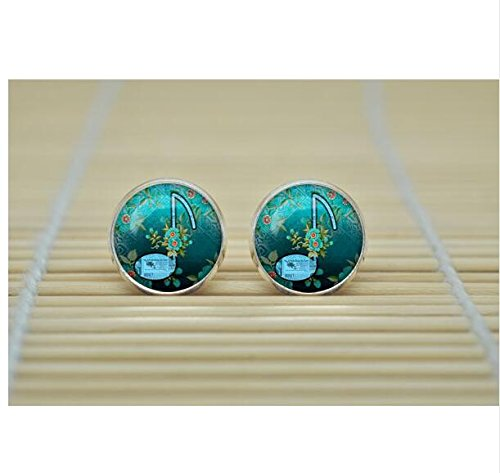 Musical note Earrings jewelry glass Cabochon Earrings