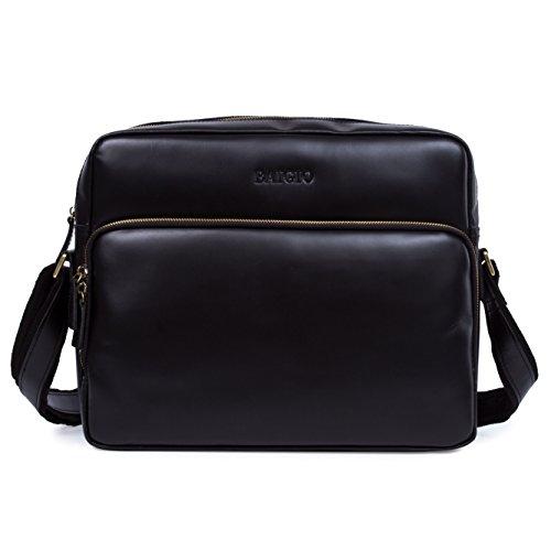 BAIGIO Men Retro Leather Crossbody Messenger Bag Shoulder Work Bag (Black)