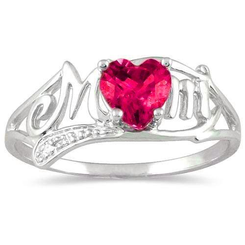 - .50 Ct Created Ruby Heart & Diamond Mom Ring .925 Sterling Silver Rhodium Finish