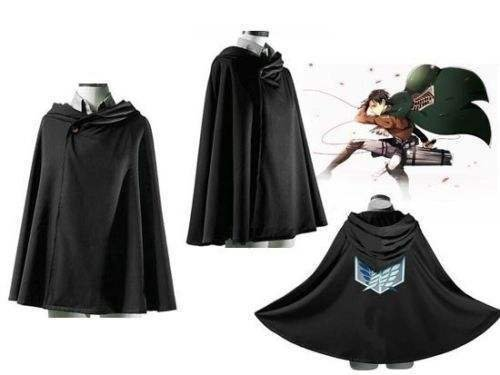 Attack on Titan Shingeki Black Cloak Japan Anime No Kyojin Cosplay Cloth (Medium-170) Kayso Inc