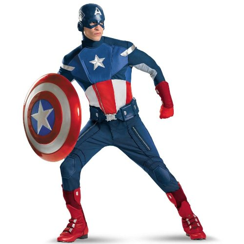 Captain America Avengers Costume Boots (Disguise Mens Plus Size Avengers Captain America Adult Costume)